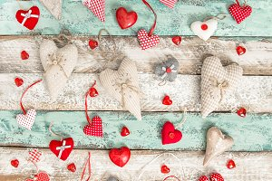 Red hearts decoration Love