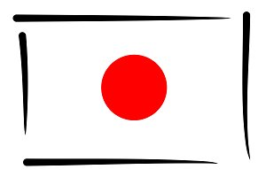 Japanese Flag of Japan illustration