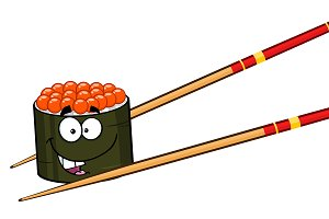 Cute Sushi Roll Cartoon Character