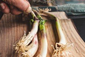 Green Garlic Chopping with Knife