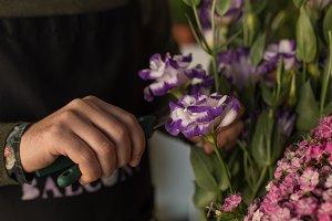 Small business. Florist cutting flow
