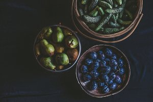 Plums, cucumbers, Pears for canning