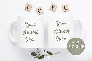 Double Mug Mockup - Love