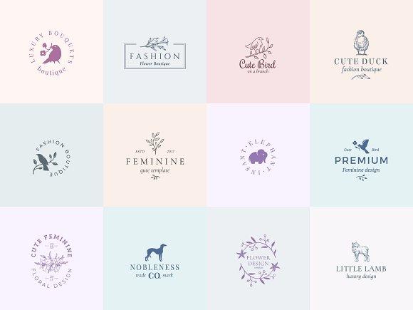 Elegant Feminine Premade Logos Set in Logo Templates - product preview 1
