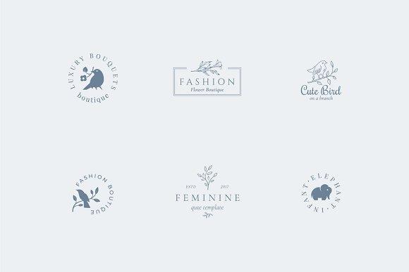 Elegant Feminine Premade Logos Set in Logo Templates - product preview 2