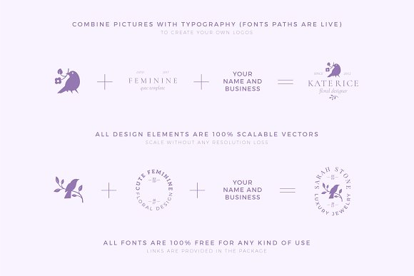 Elegant Feminine Premade Logos Set in Logo Templates - product preview 8
