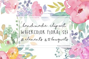 Watercolor Flowers Set Hand painted