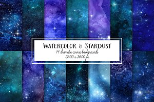 Watercolor and Stars Digital Paper