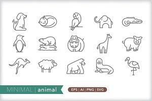 Minimal animal icons