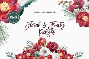 Watercolor Floral & Fruity Delight
