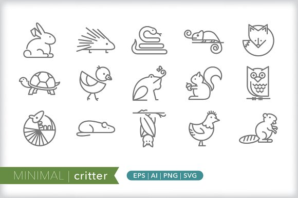 Minimal critter icons