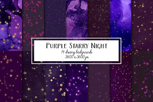 Purple Starry Night Backgrounds