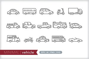 Minimal vehicle icons