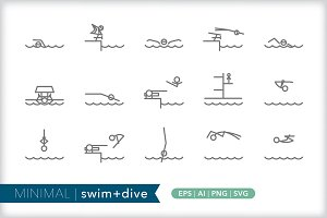Minimum swim + dive icons