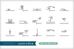 Minimum swim + dive icons