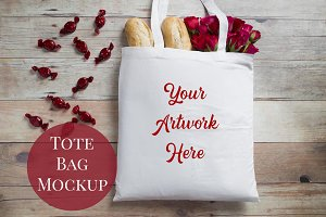 Tote Bag Mockup - Red Roses