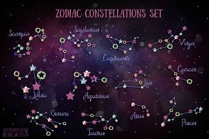 Zodiac constellations clip art