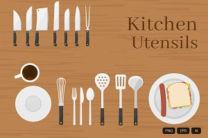 31 Kitchen Utensils Vector
