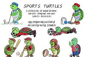 Sports Turtles Hand Drawn
