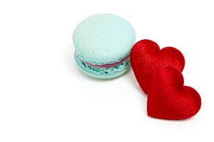 Two red hearts with French blue maca