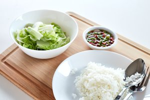 White cabbage and rice with chilli f