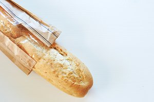 French bread baguette on wood table