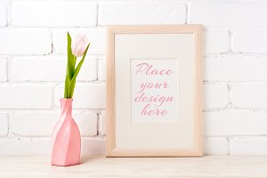Wooden frame mockup with