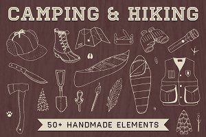 Hand-Drawn Camping & Hiking Elements