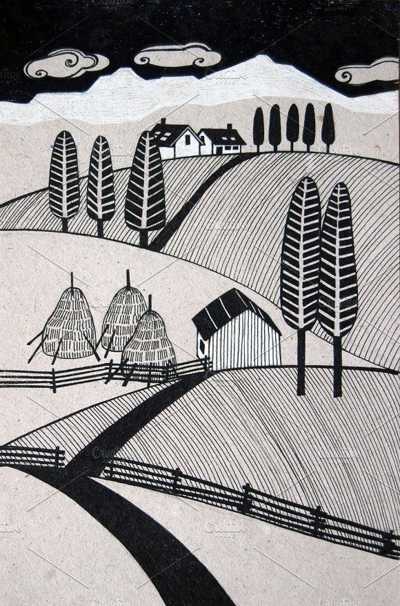 rural landscape with hay stacks
