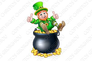 Pot Gold St Patricks Day Leprechan