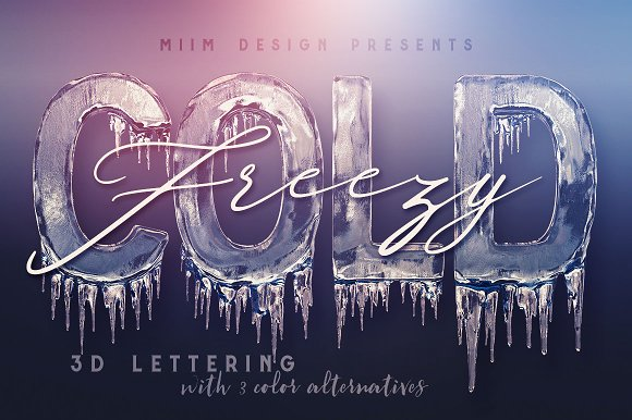 ice cold 3d lettering graphic objects creative market