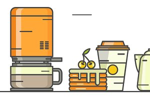 Vector linear coffee icons.