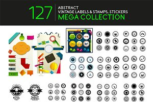 Set of vintage stamps, labels & tags