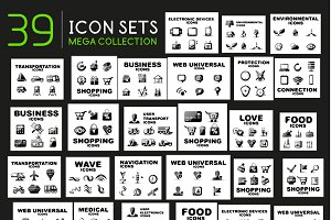 Collection of black vector icons