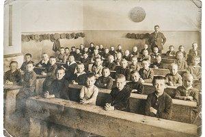 Vintage photo portrait of classmates