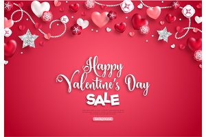 Valentine's day horizontal border