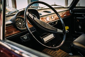 Interior shot of vintage car