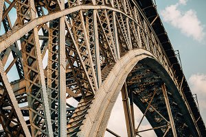 View of metal bridge of Porto