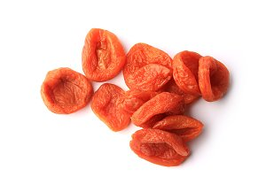 Dried apricot isolated on white background