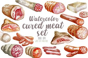 17 watercolor cured meat set