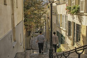 Street in Montmartre in Paris