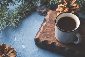 Coffee over Christmas winter background