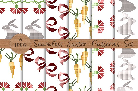 EASTER seamless knitted patterns set