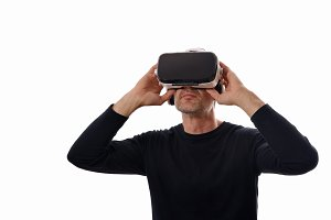 Man holding glasses vr glasses