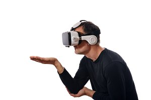 Man with vr glasses side