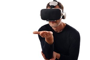 Man with vr glasses hand outstretche