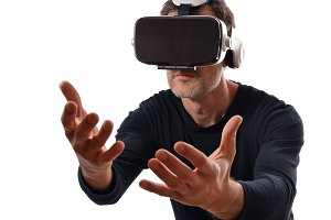 Man with vr glasses hands front