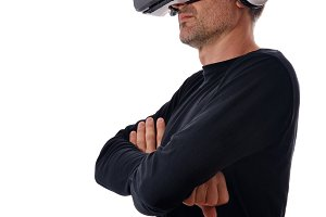 Man with vr glasses arms crossed