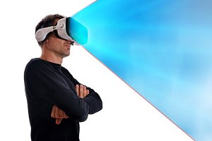 Man with vr glasses blue projection