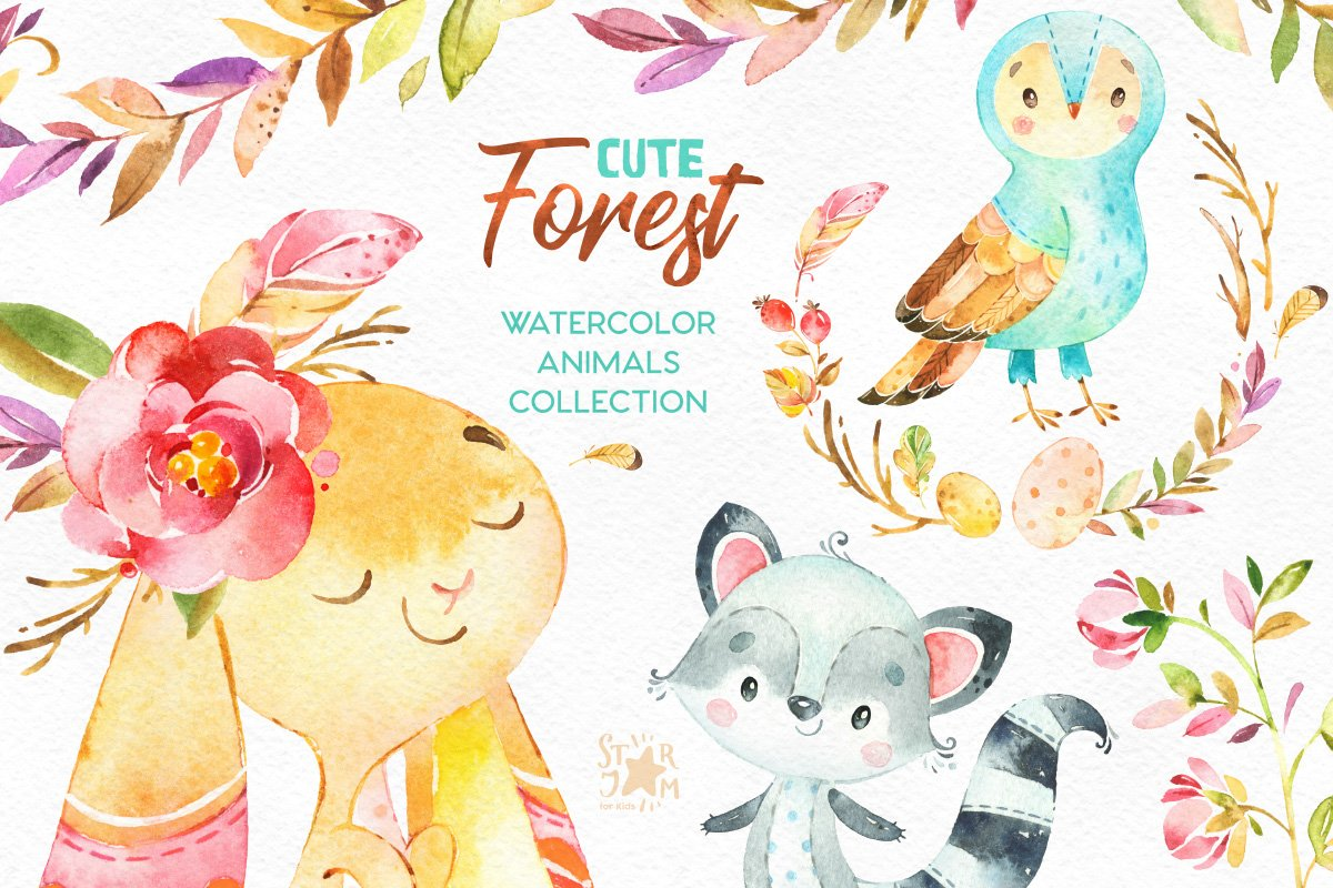 Cute Forest. Collection of animals